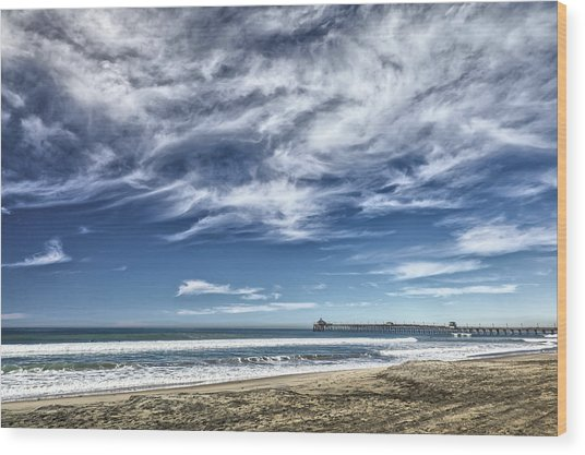 Clouds Over Imperial Beach Pier Wood Print