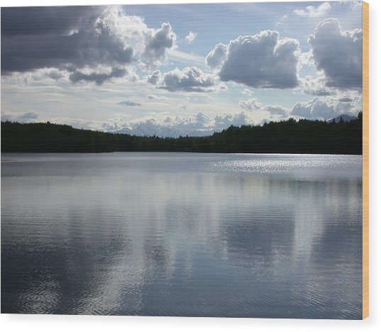 Clouds Over Lake Wood Print