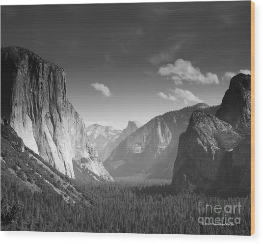 Clouds Over Yosemite Valley Black And White Wood Print