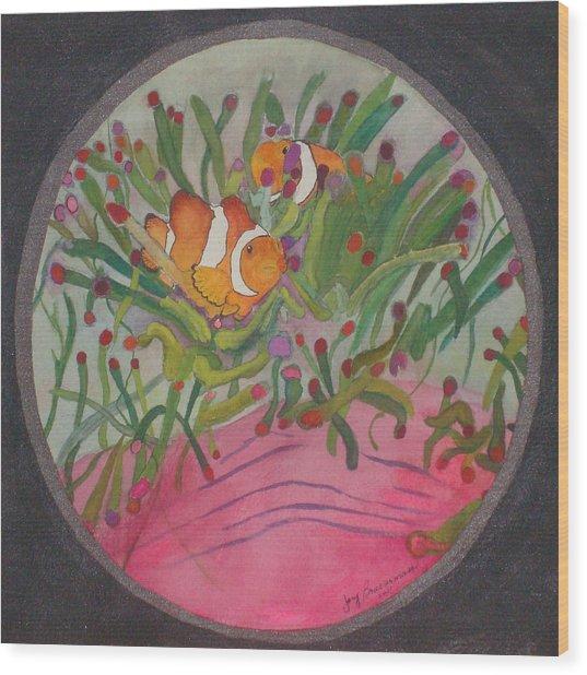 Clownfish Seen Through A Lense Wood Print