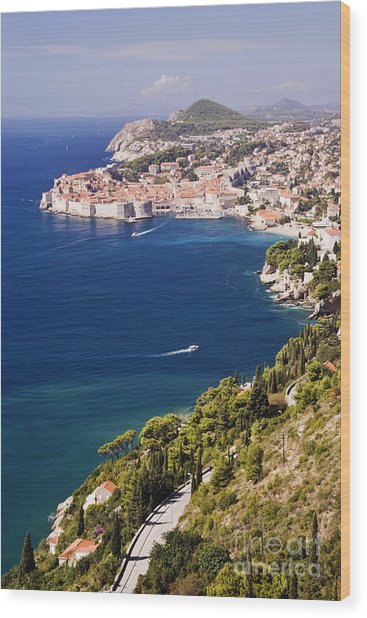 Coastal View Of The Old Town Of Dubrovnik Wood Print by Jeremy Woodhouse