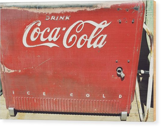 Coca Cola Wood Print by Trent Mallett