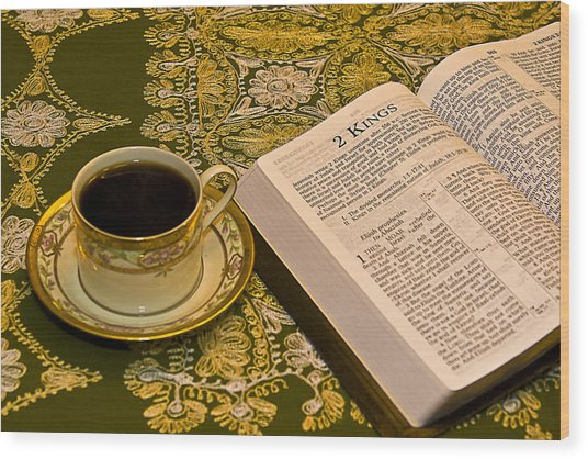 Coffee And Bible Wood Print