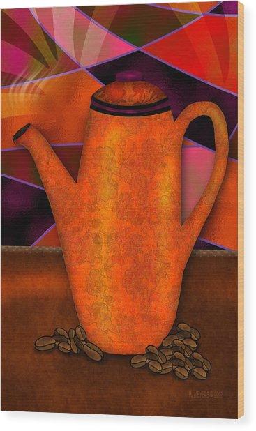 Coffee Pot Wood Print by Melisa Meyers