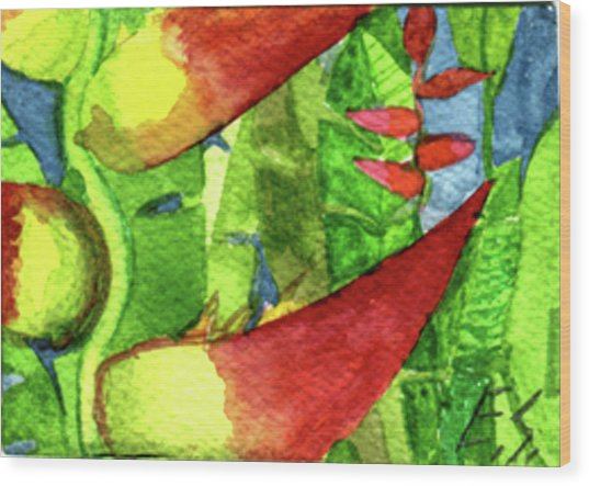 Color In The Jungle Wood Print