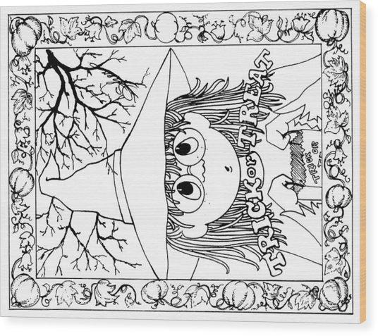 Color Me Card - Halloween Wood Print