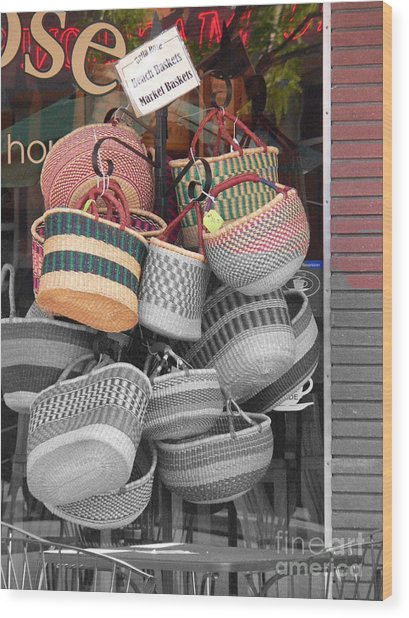 Colored Baskets Wood Print by David Bearden