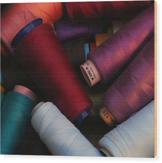 Colored Thread Wood Print by Odd Jeppesen
