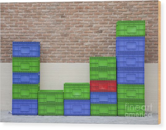 Colorful Beer Crates Wood Print by Chavalit Kamolthamanon