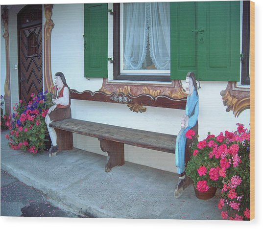 Colorful Bench Garmisch Germany Wood Print