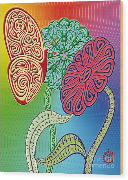 Colorful Butterfly Wood Print by Santi Goma Rodriguez