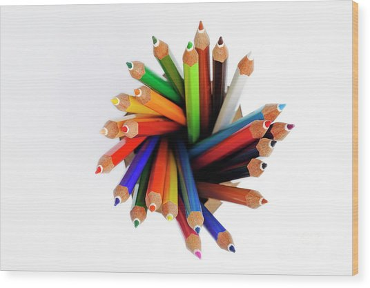 Colorful Crayons In Jar Wood Print by Sami Sarkis