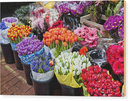 Colorful Flower Market Wood Print