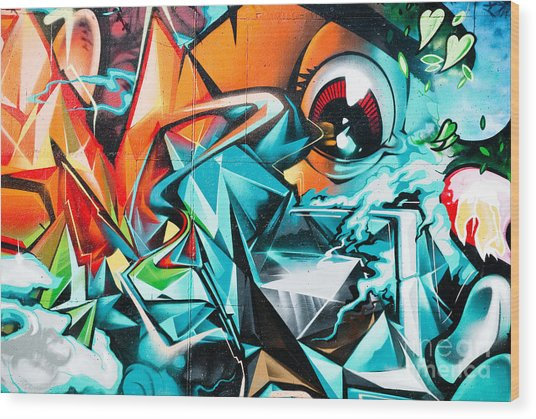 Colorful Graffiti Fragment Wood Print