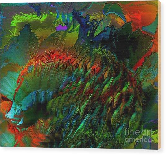 Colorful Hedgehog Wood Print by Doris Wood