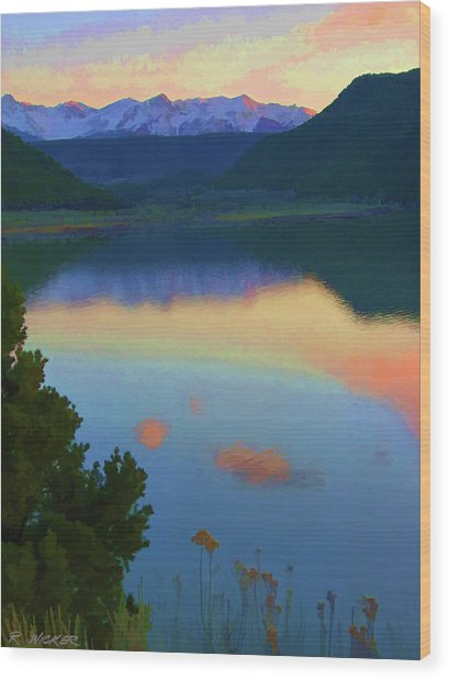 Colorful Lake Sunset Wood Print
