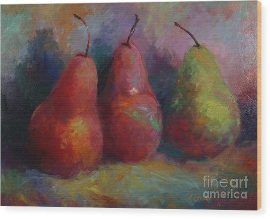 Colorful Pears Wood Print by Sandra Leinonen Dunn