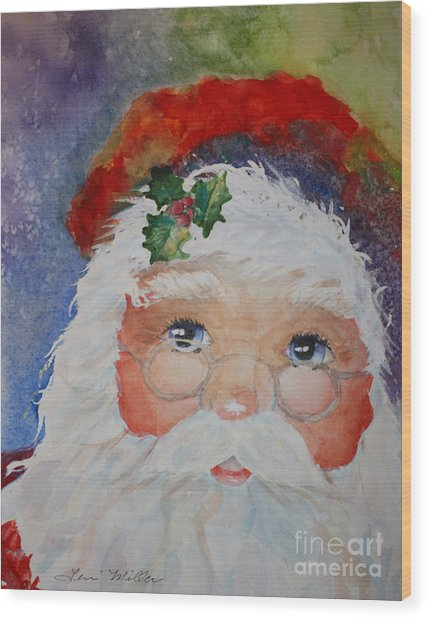 Colorful Santa Wood Print by Terri Maddin-Miller