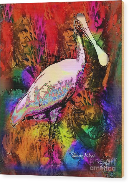 Colorful Spoonbill Wood Print by Doris Wood