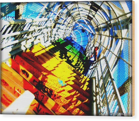 Colorful Steps Wood Print by D Wash