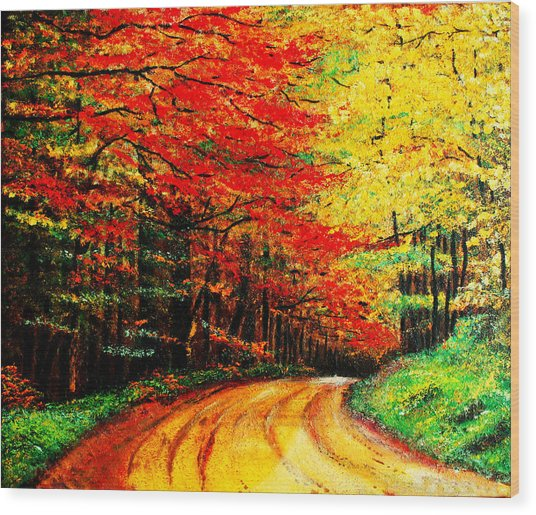 Colorful Tree Leaves Wood Print by Nelson
