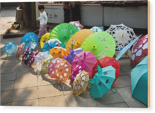 Colorful Umbrellas Wood Print by John Wong