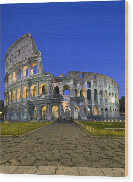 Colosseum At Blue Hour Wood Print