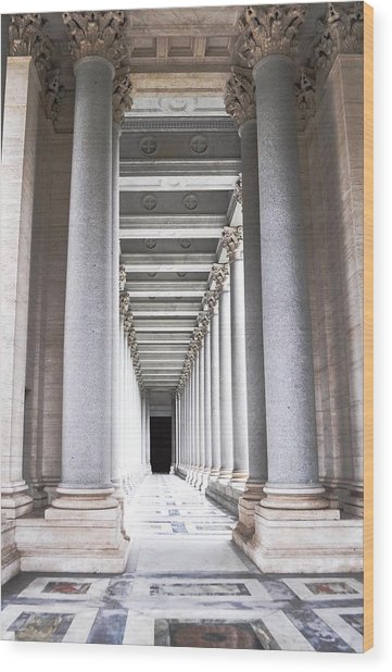 Columns In Basilica St. Paul Wood Print by Heather Marshall