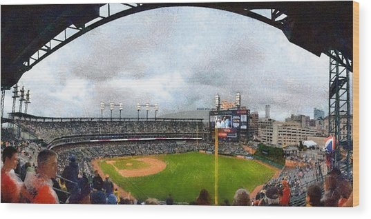 Comerica Park Home Of The Detroit Tigers Wood Print