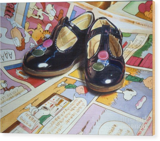 Comic Shoes Wood Print by Phil Hopkins