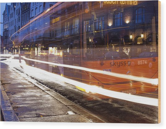 Commuter Bus Wood Print by A A