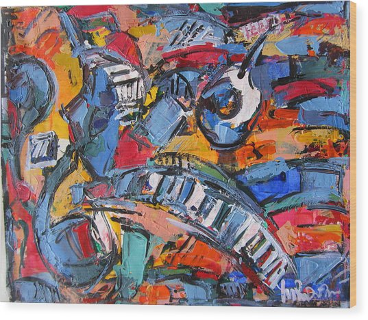 Composition With Music Wood Print