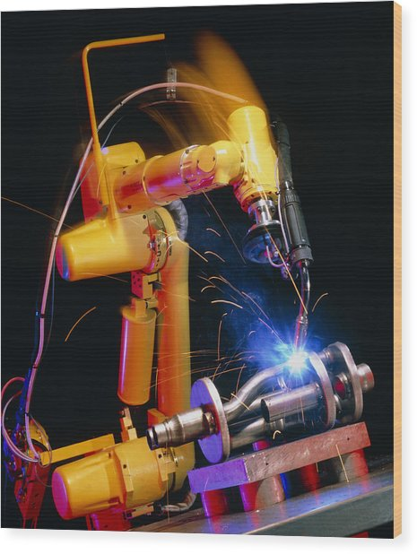 Computer-controlled Arc-welding Robot Wood Print by David Parker, 600 Group Fanuc