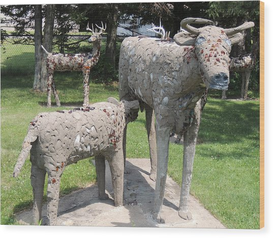 Concrete Calf And Cow Wood Print by Peg Toliver