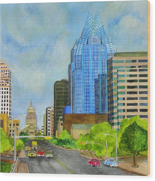 Congress Avenue Austin Texas Wood Print