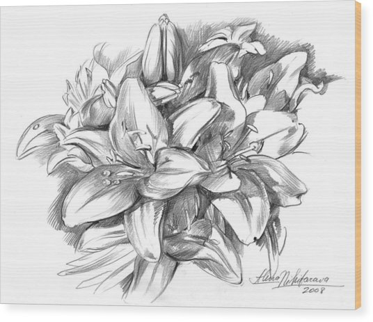 Conte Pencil Sketch Of Lilies Wood Print
