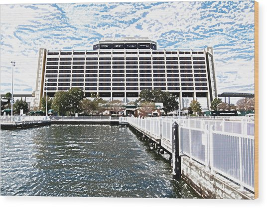 Contemporary Resort Profile Walt Disney World Prints Colored Pencil Wood Print