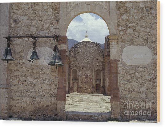 Convent Church Bells  Mexico Wood Print by John  Mitchell