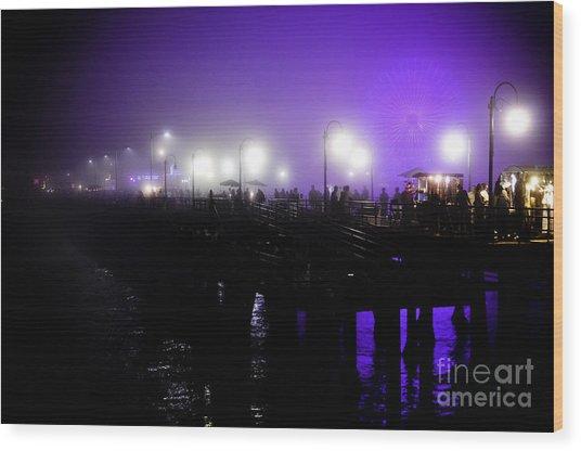 Cool Night At Santa Monica Pier Wood Print
