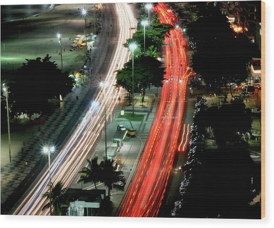 Copacabana At Night Wood Print by Luiz Felipe Castro