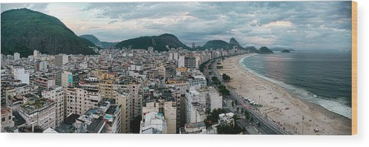 Copacabana Sunset Wood Print