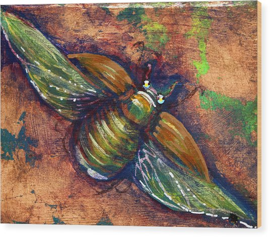 Copper Beetle Wood Print