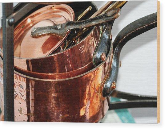 Copper Pots Wood Print