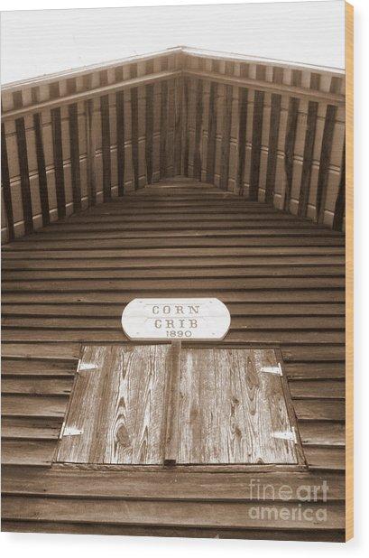 Corn Crib Wood Print by Crystal June Norton