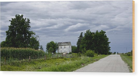 Corn Storm Clouds Horse Dirt Road Old House Wood Print