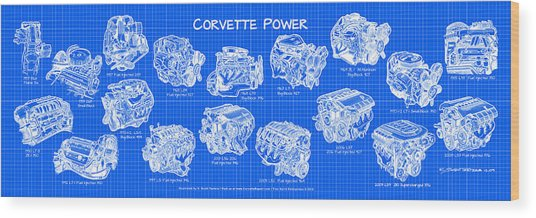 Corvette Power - Corvette Engines Blueprint Wood Print