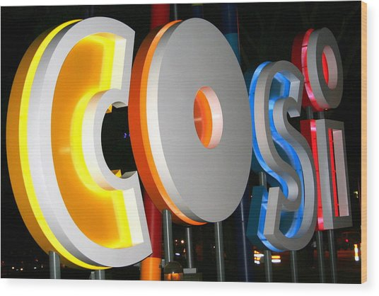Cosi In Neon Lights Wood Print