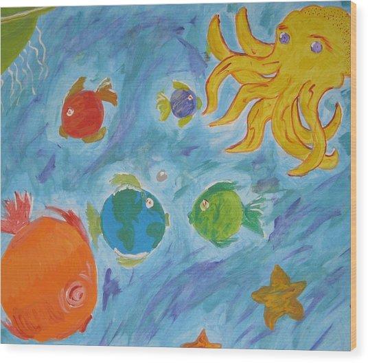 Cosmic Ocean Wood Print