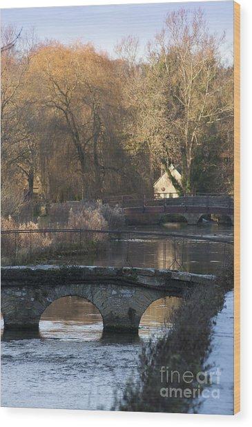 Cotswold River Scene Wood Print
