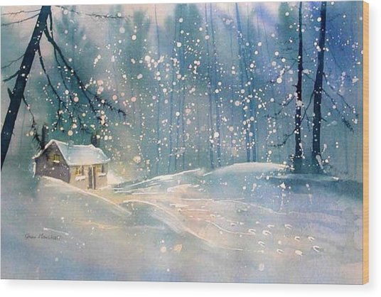 Cottage In The Snow Wood Print